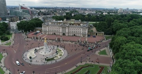 Aerial ascending view of Buckingham Palace in London