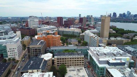 BOSTON, MA, USA - JUNE 30, 2017: Aerial video MIT tech college university Boston drone 4k