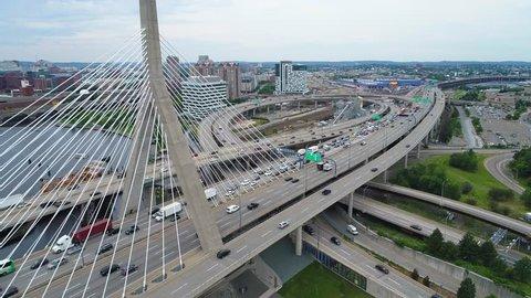 BOSTON, MA, USA - JUNE 30, 2017: Aerial tour Boston Massachusetts Zakim Bridge 4k 60p drone
