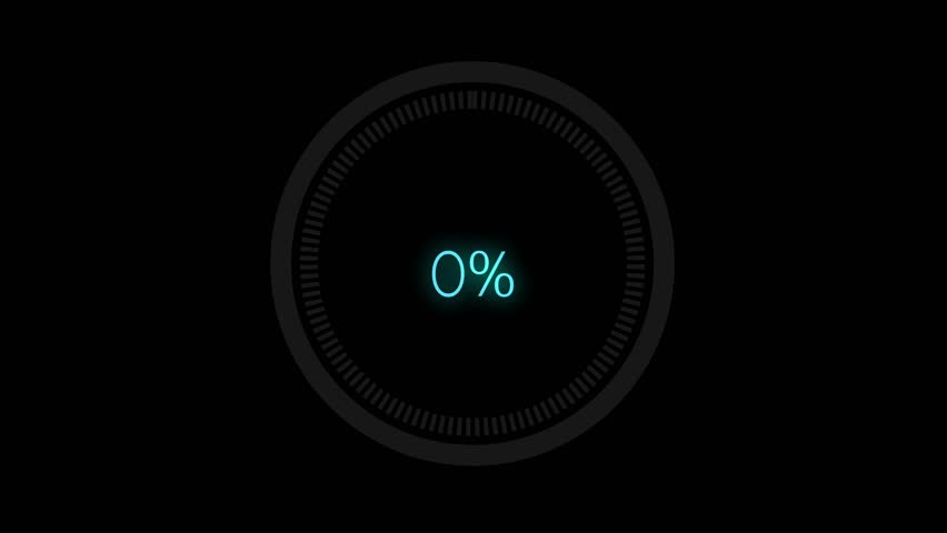 Science Futuristic Loading Circle Ring.  Loading Transfer Download Animation 0-100% in blue science effect.  light blue loading futuristic circle ring orb bar animation on black screen.