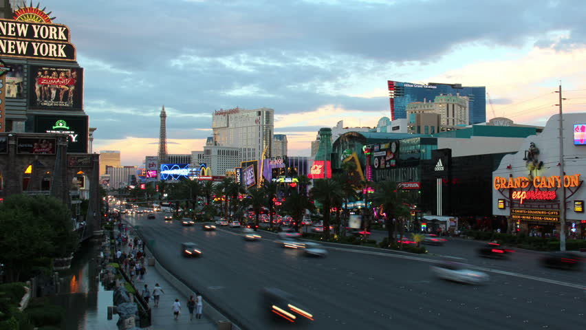 LAS VEGAS, NEVADA - October, 2012: A time lapse shot of a busy Las Vegas intersection at night.  FOR EDITORIAL USE ONLY.