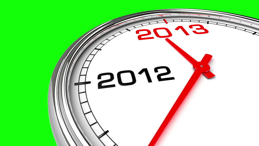 New Year 2013 Clock (Green Screen). Clock countdown from year 2012 to 2013.