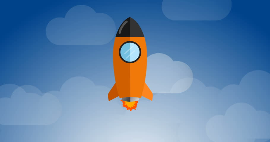 Flying Rocket In Space 4K Animation Stock Footage Video