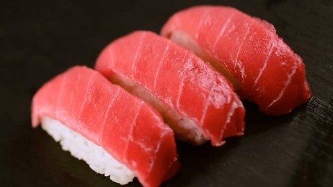 "Burning Tuna Sushi , Japanese Name is ""Aburi Toro"""