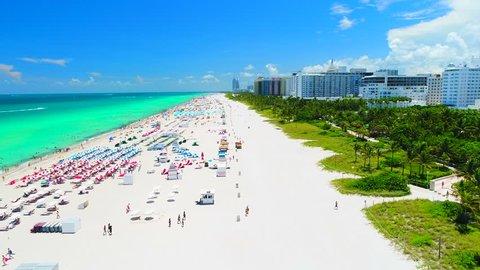 Aerial view of Miami Beach, South Beach, Atlantic ocean, Florida, USA.