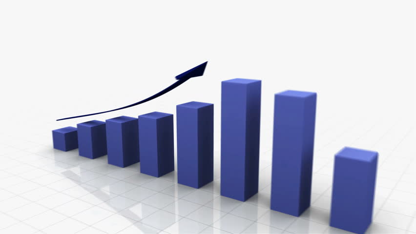 3D Growing Business Chart / bar graph in blue with Climbing Arrow. 8 Bars total Different variations of this file as well as many other business related animations available in my Contributor Gallery. | Shutterstock HD Video #2886409
