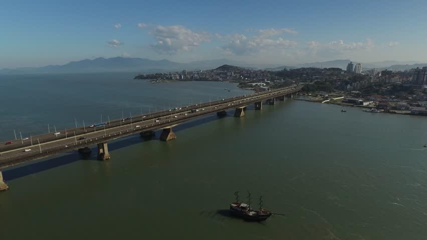 Florianopolis Bridge - Aerial view Ponte Pedro Ivo Campos | Shutterstock HD Video #28875088