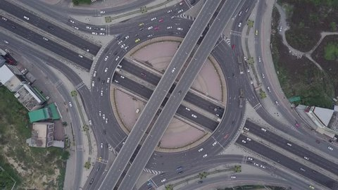 Bangkok Expressway top view, Top view over the highway, expressway and motorway at night, Aerial view interchange of a city, Shot from drone, Expressway is an important infrastructure in Thailand