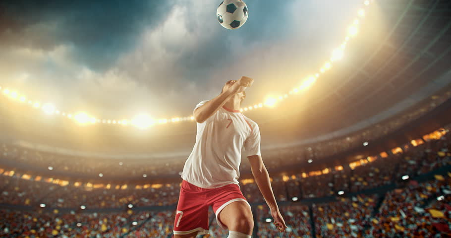 4k footage of a soccer player in dramatic play during a soccer game on a professional outdoor soccer stadium. Player wears unbranded uniform. Stadium and crowd are made in 3D. | Shutterstock HD Video #28878448
