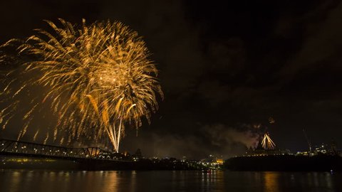 Spectacular Display of Fireworks for Canada 150 Celebrations in Ottawa, Time Lapse, July 1st