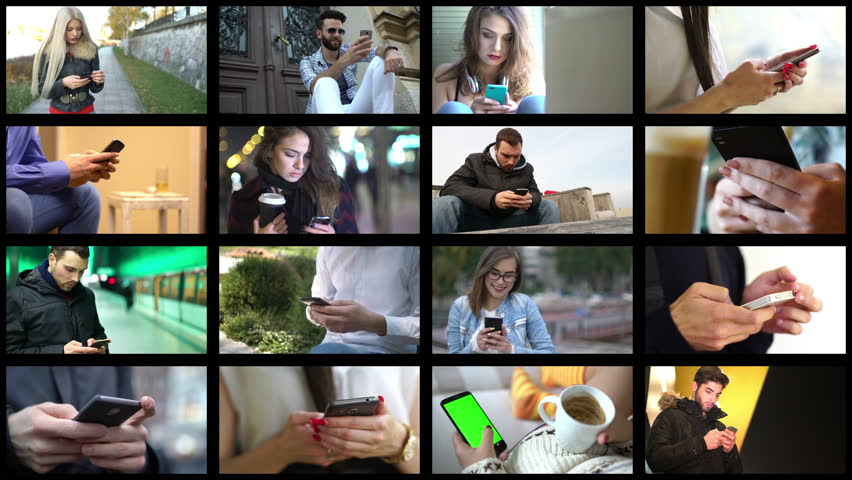 Collage of different people hands texting or typing on smartphones. Split screen montage wall. Using cell phone, smart phone, technology, communication, millenials concept. | Shutterstock HD Video #28886818