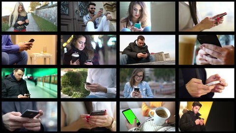 Collage of different people hands texting or typing on smartphones. Split screen montage wall. Using cell phone, smart phone, technology, communication, millenials concept.