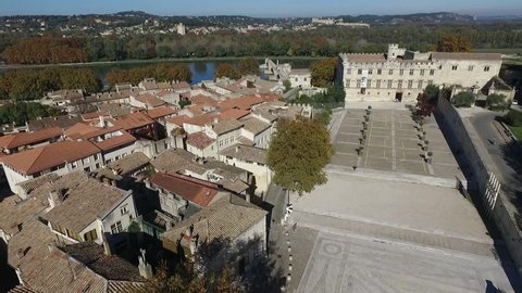 AVIGNON FRANCE NOV 2016 - AERIAL VIEW  OF THE HISTORICAL CENTER. PALACE OF THE POPES SQUARE. FALL ATMOSPHERE IN PROVENCE.