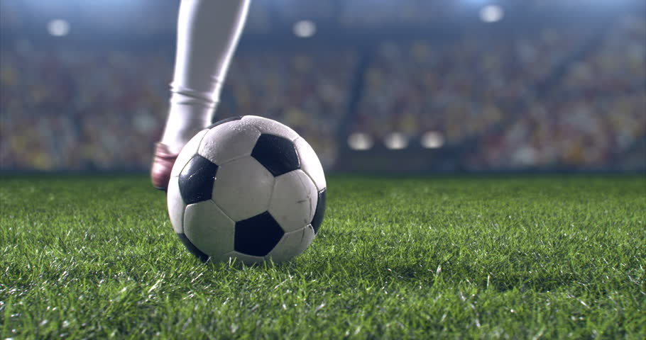 Soccer player performs outstanding play during a soccer game on a professional outdoor soccer stadium. Player wears unbranded uniform. Stadium and crowd are made in 3D. | Shutterstock HD Video #28910518