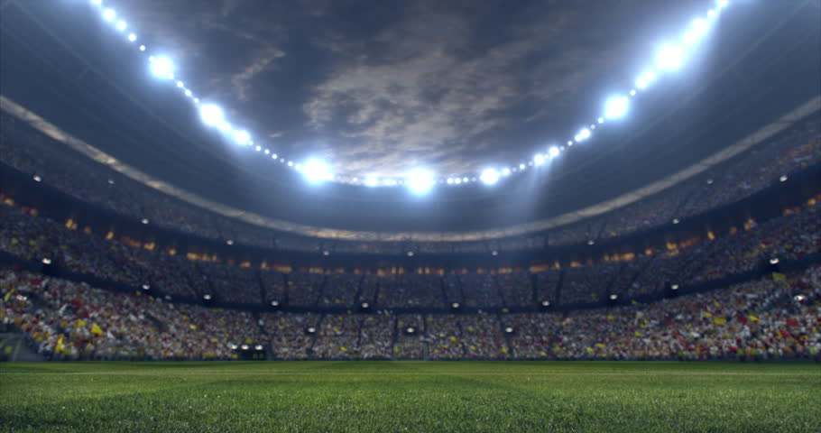 Footage of a dramatic soccer stadium. The stadium was made in 3d without using existing references. The crowd and light on the stadium are animated. | Shutterstock HD Video #28910788