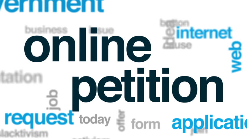 Online petition animated word cloud, text design animation.