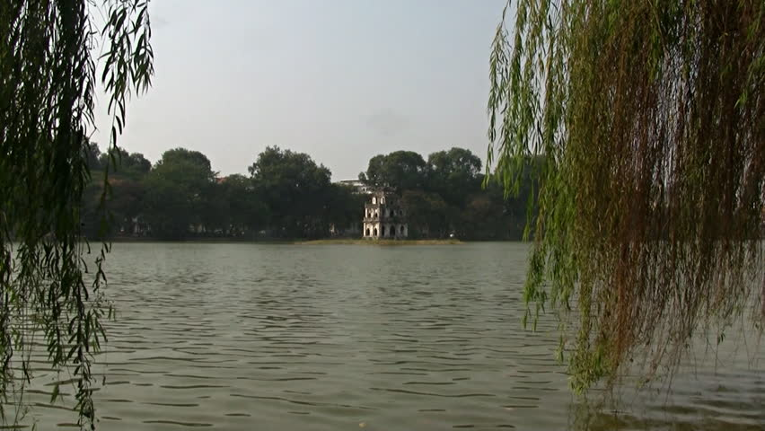 24 december 2011: Hanoi, Vietnam. Zoom in on turtle tower on  Hoan Kiem lake in Hanoi Vietnam
