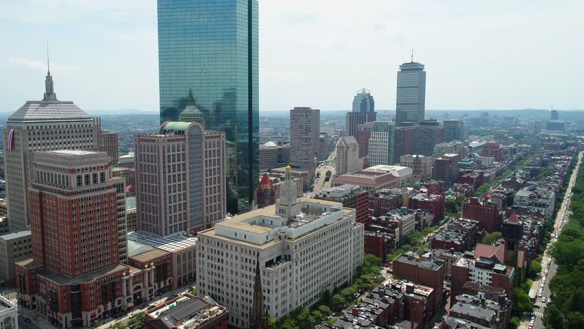 BOSTON, MA, USA - JUNE 30, 2017: Establishing aerial shot of Boston Downtown historic and modern buildings