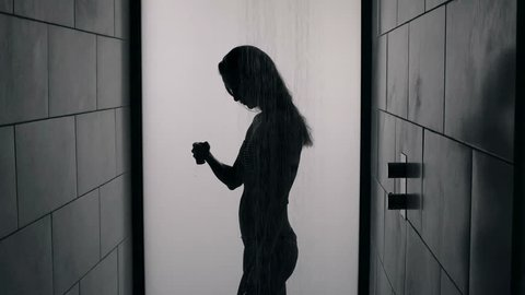 Silhouette of a sexy woman in a shower booth