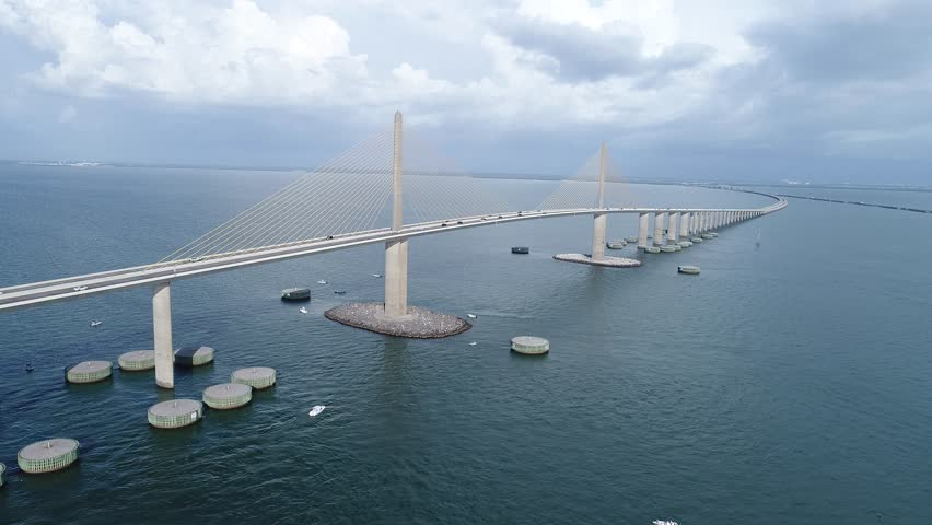 Skyway Bridge Tampa Florida Aerial Drone Video with cars & boats