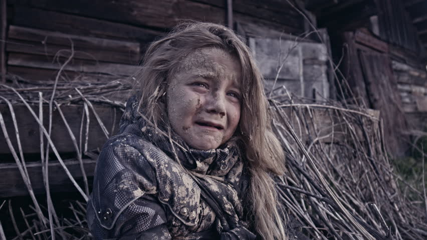 A Hungry Homeless Child Cries. War. Stock Footage Video ...