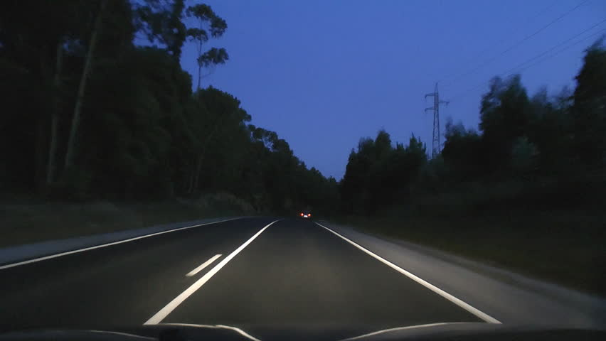 Driving on road at night