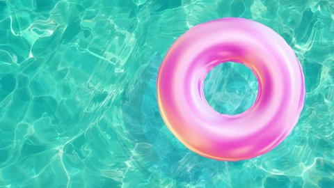 floating rubber ring, beach ball in water pool top view of crystal clean water surface,  sun shine bright water-pool looping slow motion background, 3d simulation animation