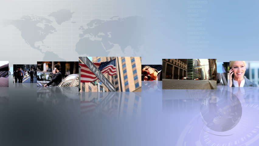 Montage 3D fly through view featuring successful financial business people around the world