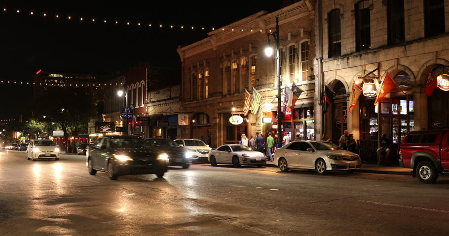 AUSTIN, USA - NOVEMBER 10, 2016: Live music bars and restaurants along 6th Street historic district in downtown