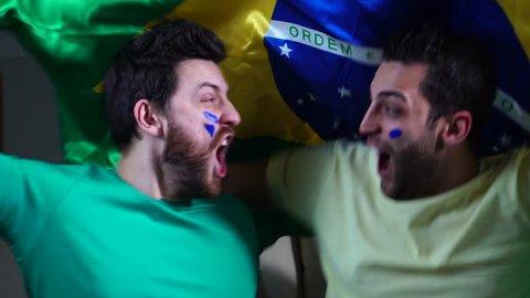 Brazilian Friends Celebrating with Brazil Flag