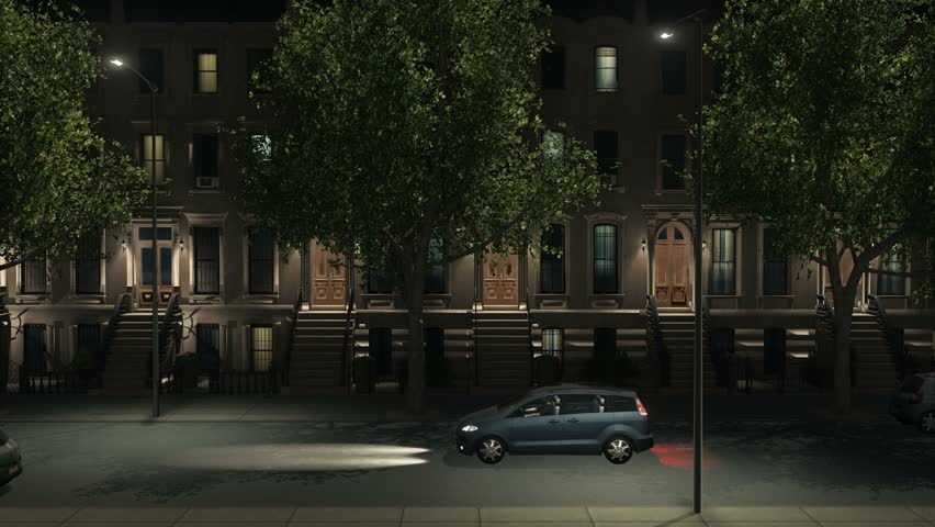 Panorama of night city street lit by street lamps with brownstone apartment buildings, parked and moving cars. Establishing shot realistic 3D animation rendered in 4K