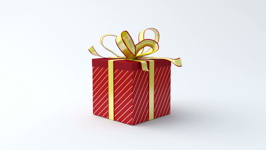 Red gift box with gold ribbon opening. Include alpha channel and color channel to key individual elements and tracking
