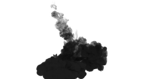 One ink flow, infusion black dye cloud or smoke, ink inject on white in slow motion. Writing ink dissolves in water. Inky background or smoke backdrop, for ink effects use luma matte like alpha mask