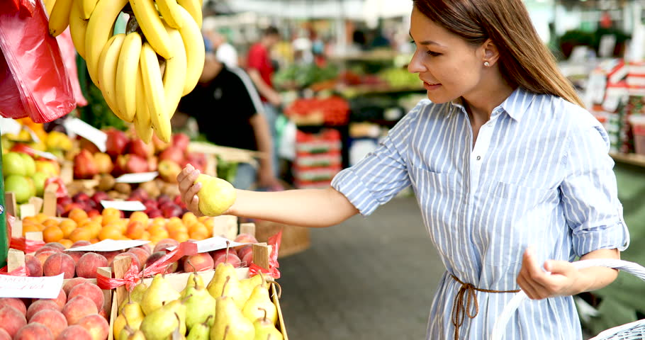 Picture of woman at marketplace buying fruits | Shutterstock HD Video #29068408
