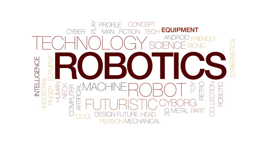 Robotics Animated Word Cloud Text Stock Footage Video 100 Royalty