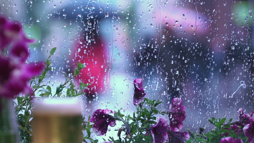 Rain outside the window of the cafe. A glass of beer. Raindrops on window glass, beautiful bokeh behind a wet city window. Abstract silhouettes of people walking under umbrellas. Concept of lifestyle