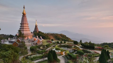 Sunset landscape two pagoda in Doi-Inthanon national park at Chiang-Mai Thailand, They are public domain or treasure of Buddhism