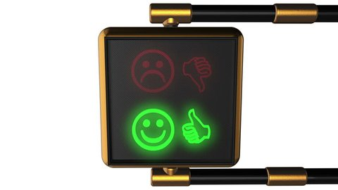 "3d animation: Looped animated background old-style golden street traffic light alternately changing the symbols Smiley ""Like/ Dislike"" red and green on the black pixels. Seamless loop. Alpha matte."