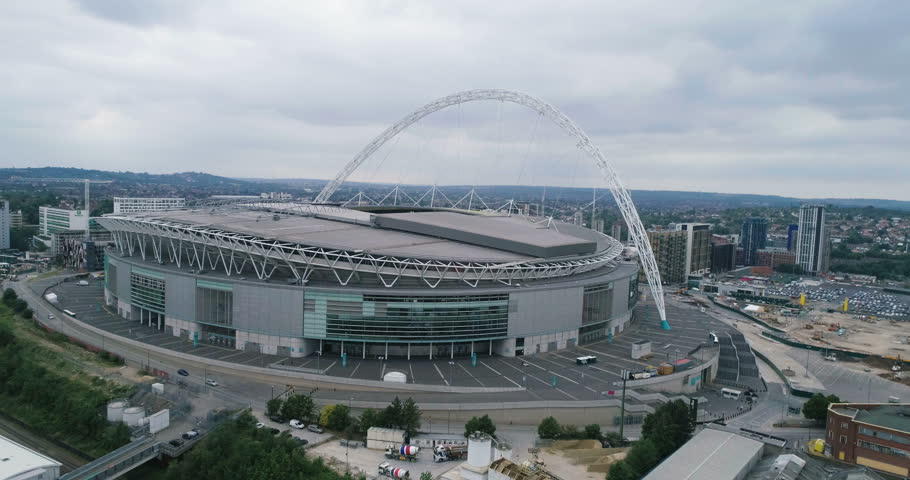 Aerial descending view of a football stadium in North London