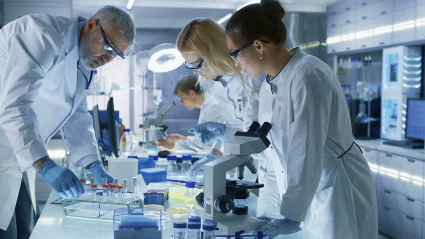 Team of Medical Research Scientists Work on a New Generation Disease Cure. They use Microscope, Test Tubes, Micropipette and Writing Down Analysis Results. Laboratory Looks Busy, Bright and Modern. 4K | Shutterstock HD Video #29108998