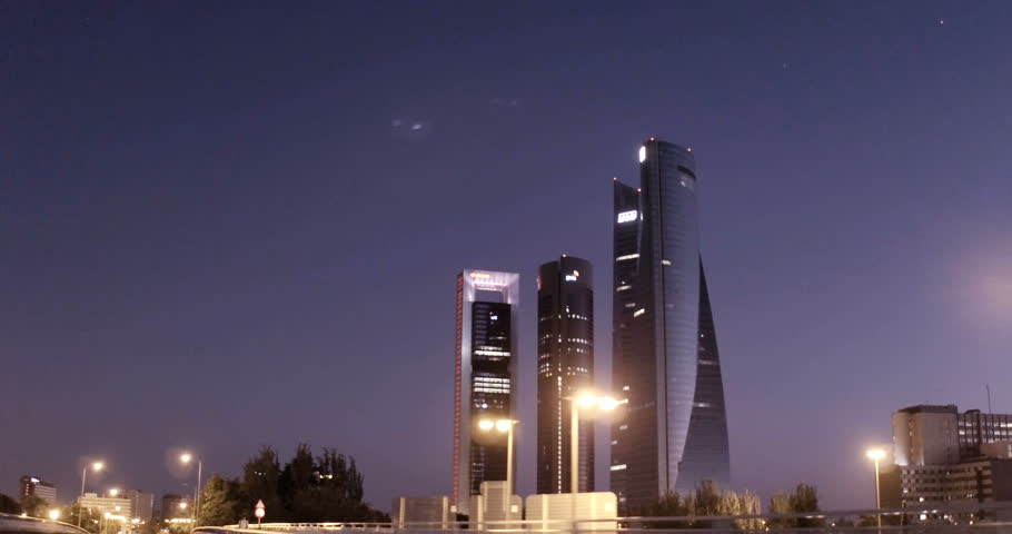Subjective image of the skyscraper towers of Madrid, Spain. Filmed on July 24, 2017.
