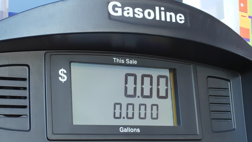 Electronic display for gas, petrol at pump oil changing, price and gallons counter