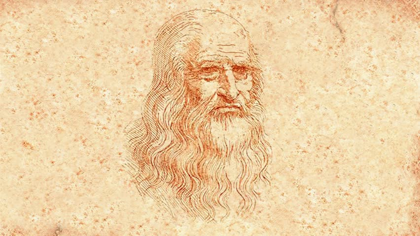 Leonardo Da Vinci winks and smiles (animation)