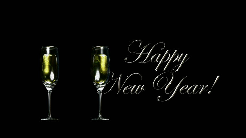 happy new years with wine glasses hd1080