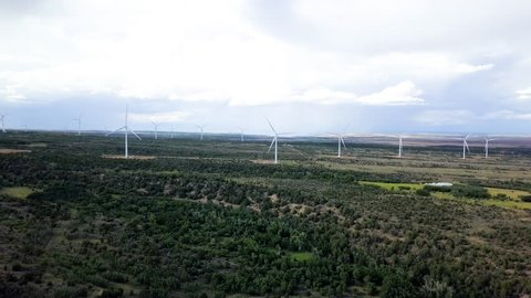 MONTICELLO, UTAH - 14 JUL 2017: Aerial rural community windmill turbines electricity. Wind farm south eastern Utah. Important source of renewable energy by wind. Energy for homes and business.
