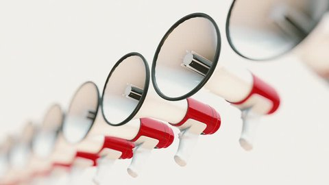 Seamlessly looping 3d animation featuring an endless line of perfectly aligned megaphones presented with a shallow depth of field