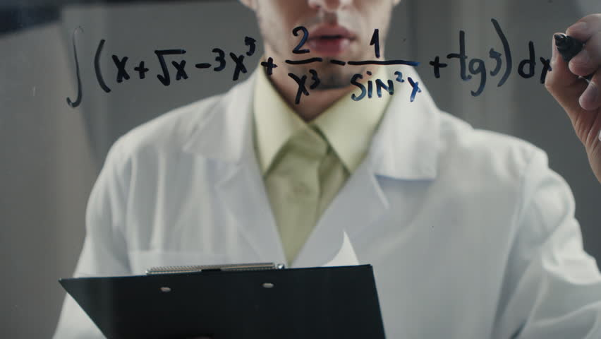 scientist wrote mathematical formulas on a blackboard. Timelapce