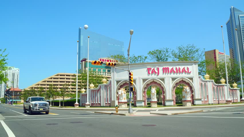 ATLANTIC CITY, NJ, USA - JULY 1, 2017: Street panning video Taj Mahal Atlantic City NJ
