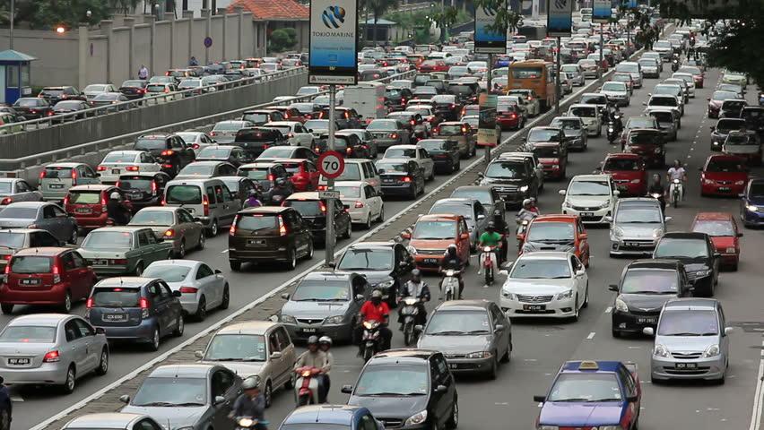 KUALA LUMPUR - MARCH 2012: traffic jam in city center