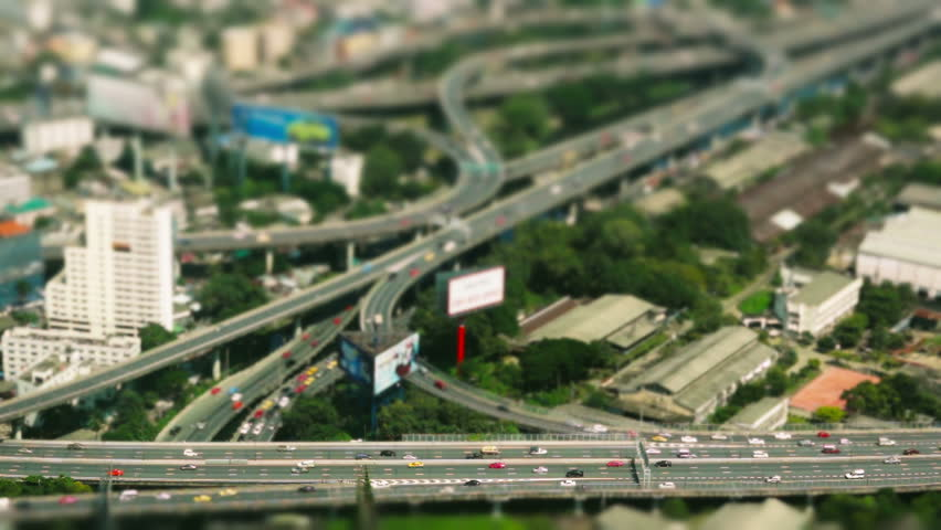 Aerial view - Traffic Bangkok - time-lapse - seamless loop
